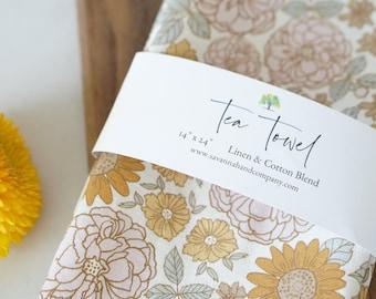 Sunflower Garden fall tea towel/southern kitchen/cotton/linen