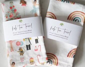 2 PACK Kids tea towel/kitchen towel/southern kitchen/Cotton/Linen/play kitchen