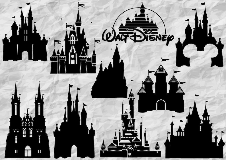 image about Disney Silhouette Printable named 10 Disney Castles svg lower document, printable vector clip arts, Disney silhouette