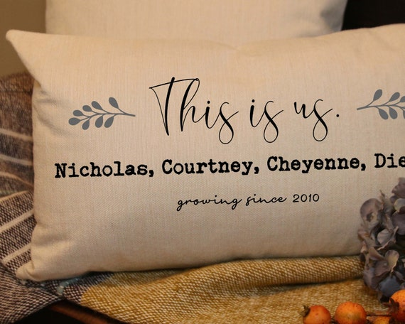 Personalized Family Lumbar Pillow Cover Script This Is Us Etsy