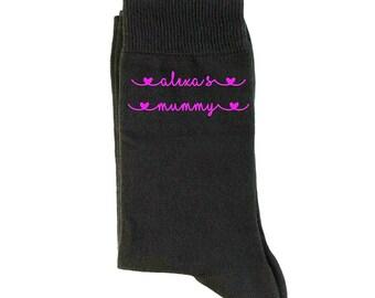 Scrummy Mummy Printed on Ladies Hot Pink Socks Birthday or Christmas Present