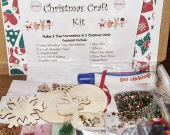 Christmas Craft Kit, Christmas Decoration kit, Christmas Eve box filler, stocking filler gift, Christmas ornament & card kit