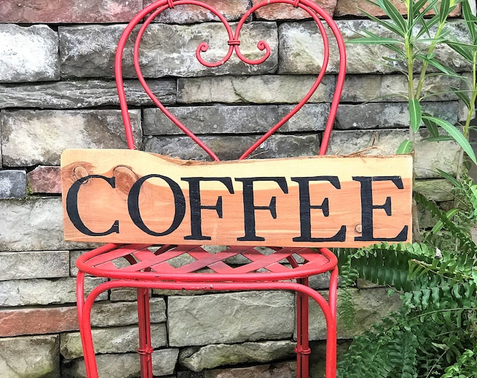 Rustic coffee sign,  wooden cabin style sign, farmhouse sign, coffee bar
