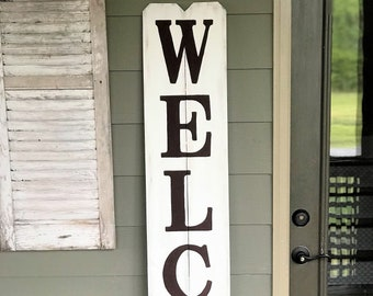 Tall WELCOME sign, wood porch sign, front porch welcome sign, rustic wooden porch welcome sign