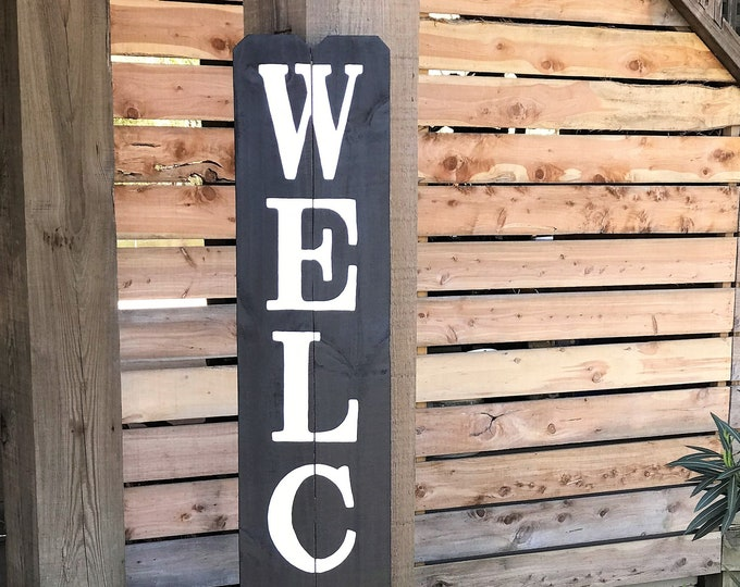Tall wood welcome sign, wooden porch welcome sign, rustic welcome sign, porch welcome sign, large welcome sign