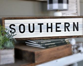 Southern, framed wood sign | modern farmhouse decor | southern home decor