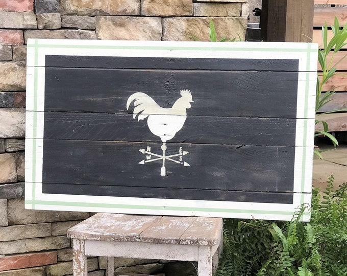 Farmhouse sign with rooster weather vane, southern decor, reclaimed wood