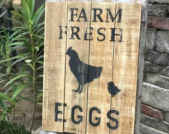 Farm fresh eggs wooden sign, vintage style farm sign, farmhouse sign