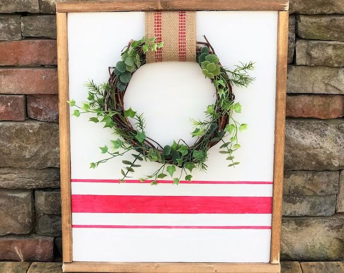 Rustic wreath sign with grain sack stripe, framed farmhouse sign