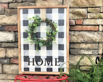 Home buffalo plaid framed wood sign with wreath | southern farmhouse wall decor