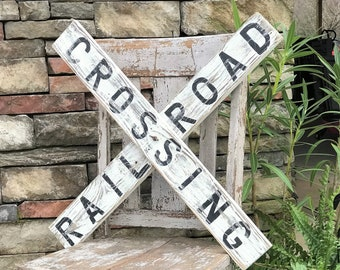 Railroad crossing sign, farmhouse sign, vintage railroad sign, reclaimed wood sign, modern farmhouse
