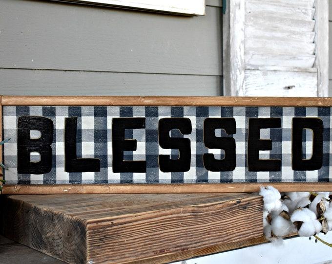 Blessed buffalo plaid wood sign - modern farmhouse  - framed wood farmhouse wall decor