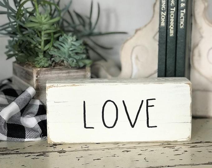 Love, Rae Dunn inspired wood block decor | wooden farmhouse shelf sign