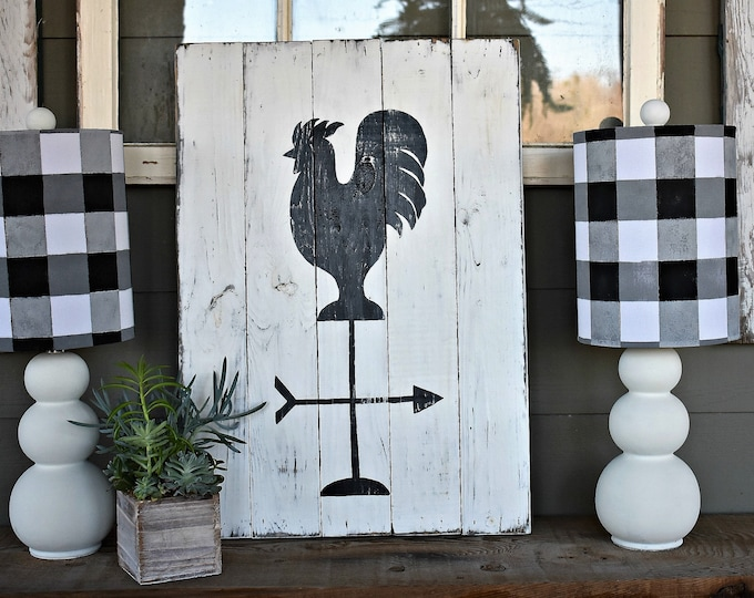 Rustic rooster weather vane wood sign - farmhouse style sign - farm sign
