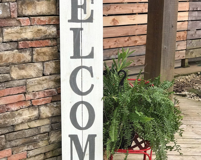 Tall WELCOME sign, wooden porch sign, front porch welcome sign