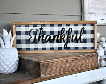Thankful buffalo plaid wood sign - modern farmhouse decor - framed wooden farmhouse style sign