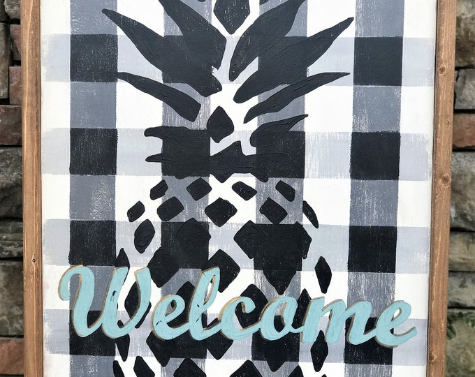 Welcome buffalo plaid with pineapple framed wood sign | southern farmhouse framed wooden sign