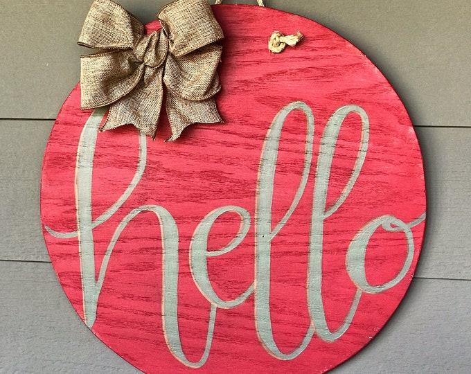 Hello round door hanger, rustic red, round wall decor