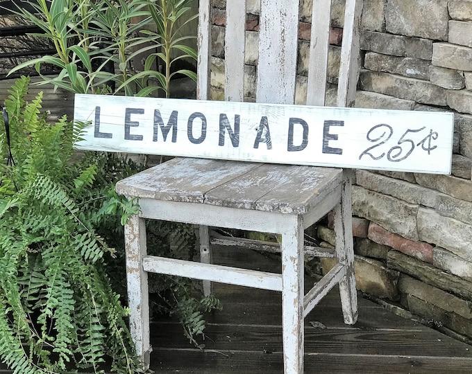 Lemonade wood vintage farmhouse style sign | vintage style decor | rustic wood sign