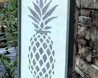 Pineapple framed wooden sign, farmhouse sign, southern decor, wood sign
