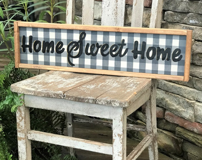 Home sweet home buffalo plaid framed wood sign, southern style wall decor