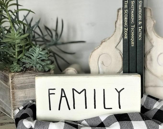 Family, wood word block | Rae Dunn inspired wooden sign | farmhouse decor