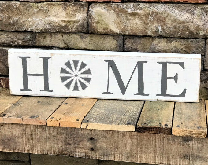 Home farmhouse style sign | rustic wood sign with windmill | shelf sitter sign