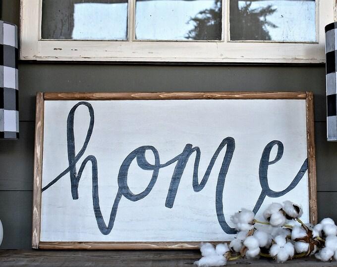 Home, framed wood sign, farmhouse sign, modern farmhouse style decor