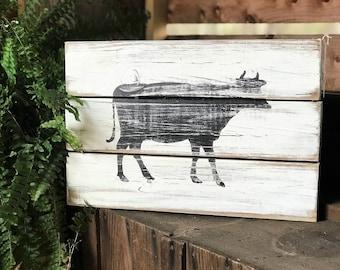 Farmhouse wood cow sign | reclaimed wood cow decor