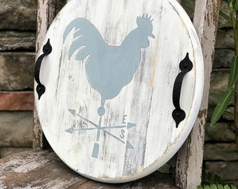 "Round wood serving tray, 15"", rooster weather vane serving tray"