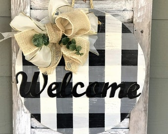 Welcome buffalo plaid round door hanger with bow | welcome wall decor | front door sign | front door decor