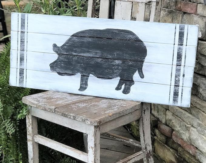 Wooden farm style pig sign, reclaimed wood farm animal sign, farmhouse style home decor
