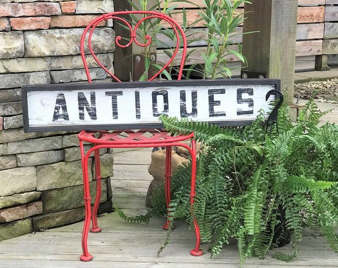 Antiques wooden farmhouse sign, vintage style sign, vintage home decor