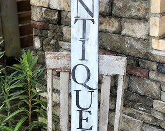 Antiques vintage style wood sign | vintage farmhouse style decor | reclaimed wood sign