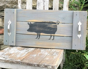 Wooden decorative tray with pig, grey and black, farmhouse style decor, serving tray