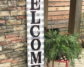 Tall WELCOME sign, buffalo plaid, porch welcome sign