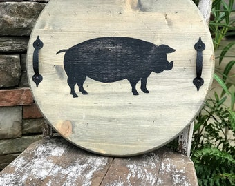 Round serving tray with pig silhouette, farmhouse decor, rustic decor
