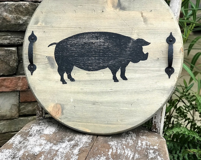 Round serving tray with pig silhouette, rustic farmhouse decor