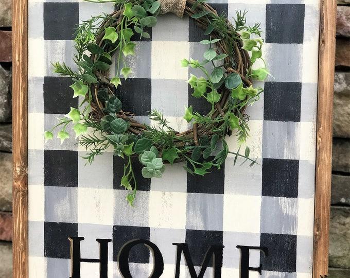 Home buffalo plaid framed wood sign with wreath | southern farmhouse wall decor | wreath sign