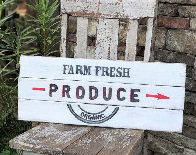 Farm fresh produce wood farmhouse sign, rustic hand painted wooden sign