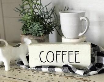 Coffee, wood block farmhouse sign | Rae Dunn inspired home decor