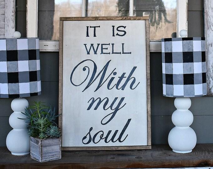 It is Well with my Soul framed wood farmhouse sign |  modern farmhouse wall decor | Hymn sign
