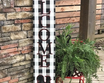 Tall WELCOME sign, porch welcome sign, front porch sign, buffalo plaid