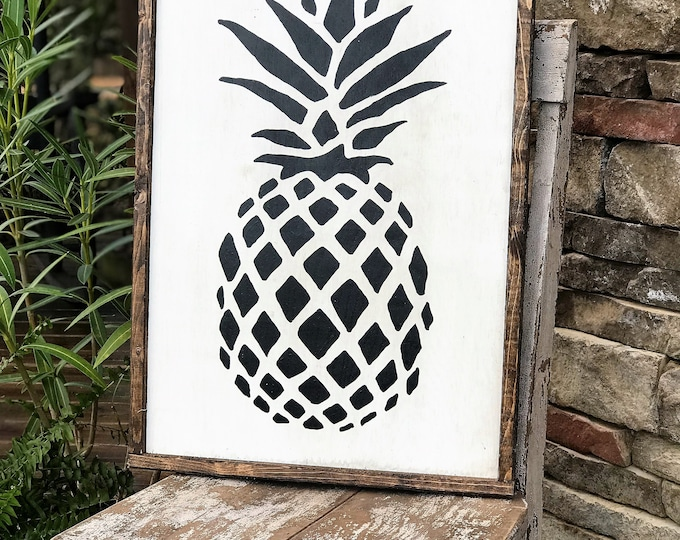 Pineapple framed wood sign, southern style decor, gallery wall sign, pineapple wall decor