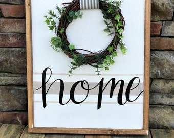 Home framed wood sign with wreath | Farmhouse style sign with ticking stripe