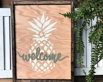Welcome pineapple wood sign | rustic farmhouse style sign
