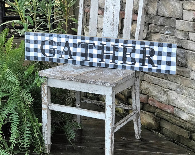 Gather buffalo plaid barn wood sign | farmhouse style sign | southern style decor