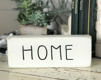 Home Rae Dunn inspired wood block sign | farmhouse style decor