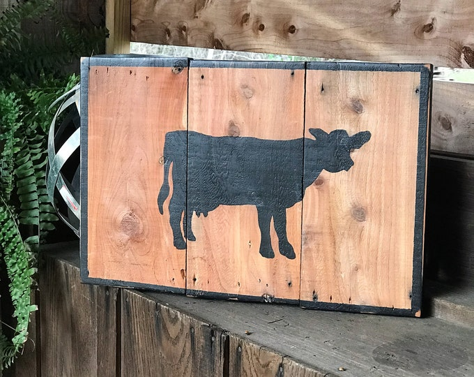 Rustic wooden cow sign, rustic farmhouse cow decor