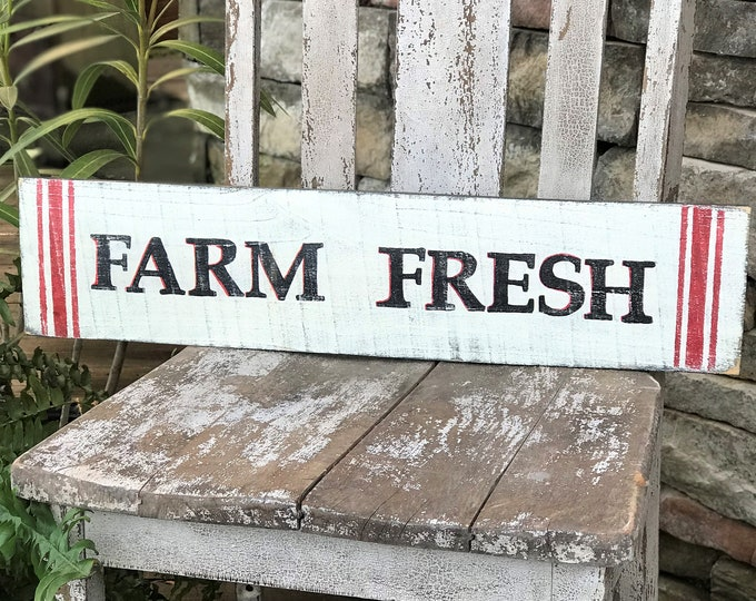 Farm Fresh hand painted wood farmhouse sign, country decor, southern decor